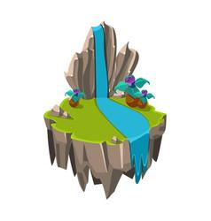 Cartoon stone isometric island with waterfall and vector