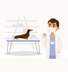 Character doctor physician veterinarian measure vector