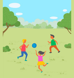children playing with ball in park image vector image