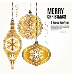 Christmas card with golden ornamental xmas balls vector