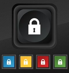 closed lock icon symbol Set of five colorful vector image