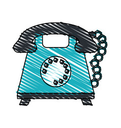 color crayon stripe cartoon retro telephone with vector image