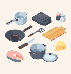 cook kithhen set frying pan electric stove white vector image