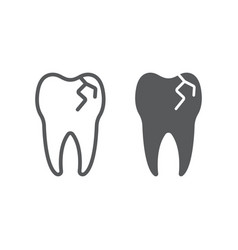 Cracked tooth line and glyph icon stomatology vector