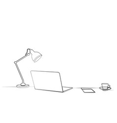 desk desk lamp laptop coffee mug tea notebook vector image