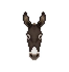 Donkey head in pixel art style vector