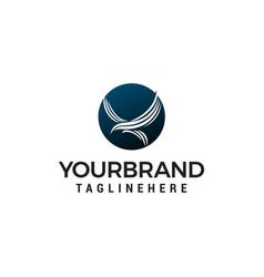 eagle fly in circle logo design concept template vector image