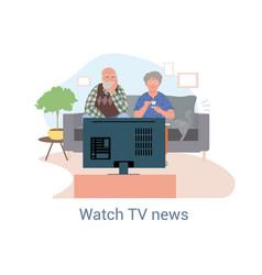 Elderly couple sitting watching news vector