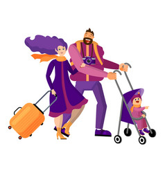 family travels together isolated objects on white vector image