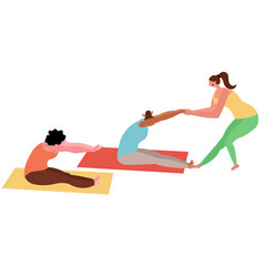 Female group yoga classes with an instructor vector