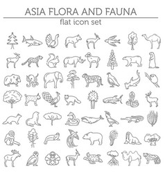 Flat asian flora and fauna elements animals birds vector