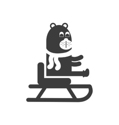 Flat icon in black and white style Bear sledge vector