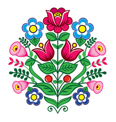 Floral cute pattern from poland folk art vector