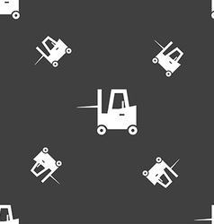 Forklift icon sign Seamless pattern on a gray vector