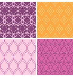 Four abstract wire shapes seamless patterns set vector image