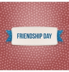 Friendship Day Emblem with Ribbon and Shadow vector