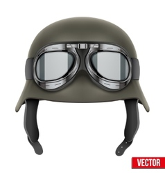 German Army helmet with protective goggles vector image