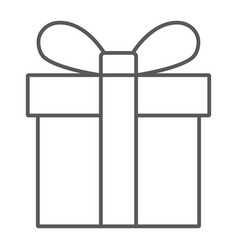 gift box thin line icon christmas and package vector image