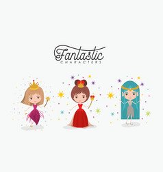 girly fantastic character set of queen fairy and vector image
