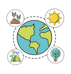Global earth planet with icons to ecology care vector