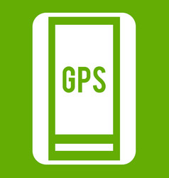 Global positioning system icon green vector