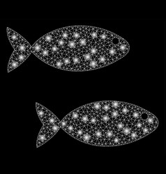 Glossy mesh carcass fish pair with light spots vector