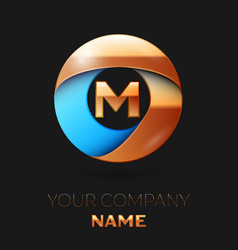golden letter m logo symbol in golden-blue circle vector image