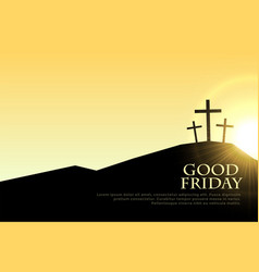 good friday cross signs with sun light flare vector image