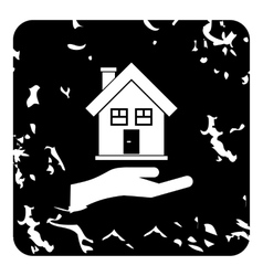 Hand holding house icon grunge style vector