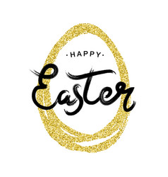 happy easter lettering with golden egg frame vector image