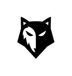 head wolf face silhouette logo vector image