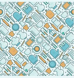 kitchenware and tableware seamless pattern vector image