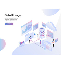 landing page template data storage isometric vector image