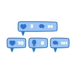 Like follower and comment social media blue vector image