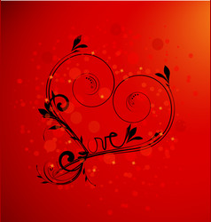 Love heart abstract swirly icon on red vector