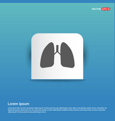 lungs icon - blue sticker button vector image