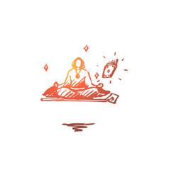 Magician wizard levitation yoga guru concept vector