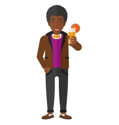 Man holding glass of juice vector image
