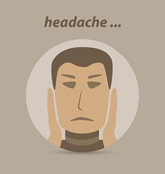 Man with a headache or migraine pain vector