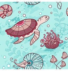Marine seamless pattern with turtle vector