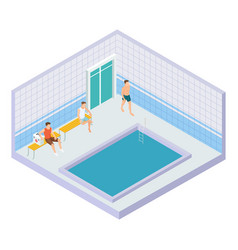 men in water pool isometric concept vector image
