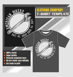 Mock up clothing company t-shirt templatewrench vector