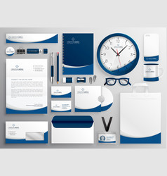 modern blue professional business stationery set vector image