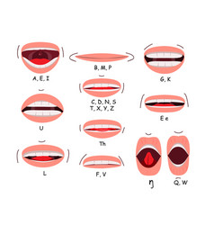 mouth sync flat icon set vector image