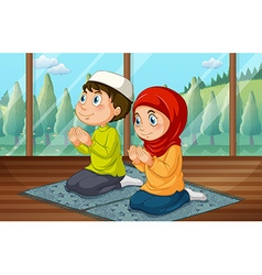 Muslim boy and girl praying in the room vector