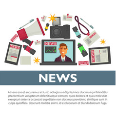 News poster flat design of tv reporter vector