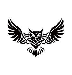 Owl logo - emblem design on w vector
