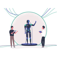 pair of people standing beside android and vector image