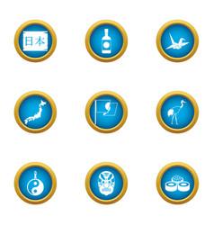 Pan asian icons set flat style vector