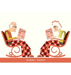 Pensioner in chair sitting and reading newspaper vector image